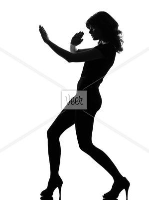 silhouette woman fight karate