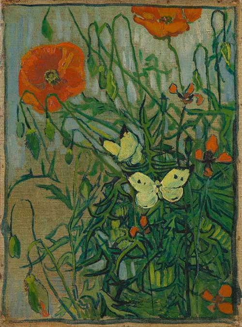 van gogh- butterflies and poppies